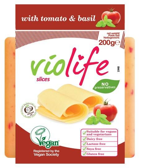 Violife: Rostlinný sýr plátkový s rajčaty a bazalkou 200g