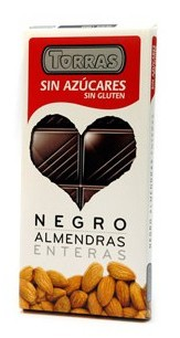 Čokoláda hořká bez cukru s mandlemi 150g