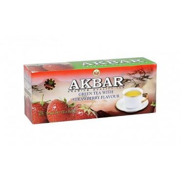 Akbar: Zelený čaj s jahodovou příchutí 25x1,5g